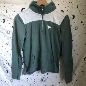 PINK Green & White Quarter Zip Pullover Sweatshirt